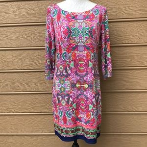 Laundry by Shelli Segal Pink & Green Shift Dress S